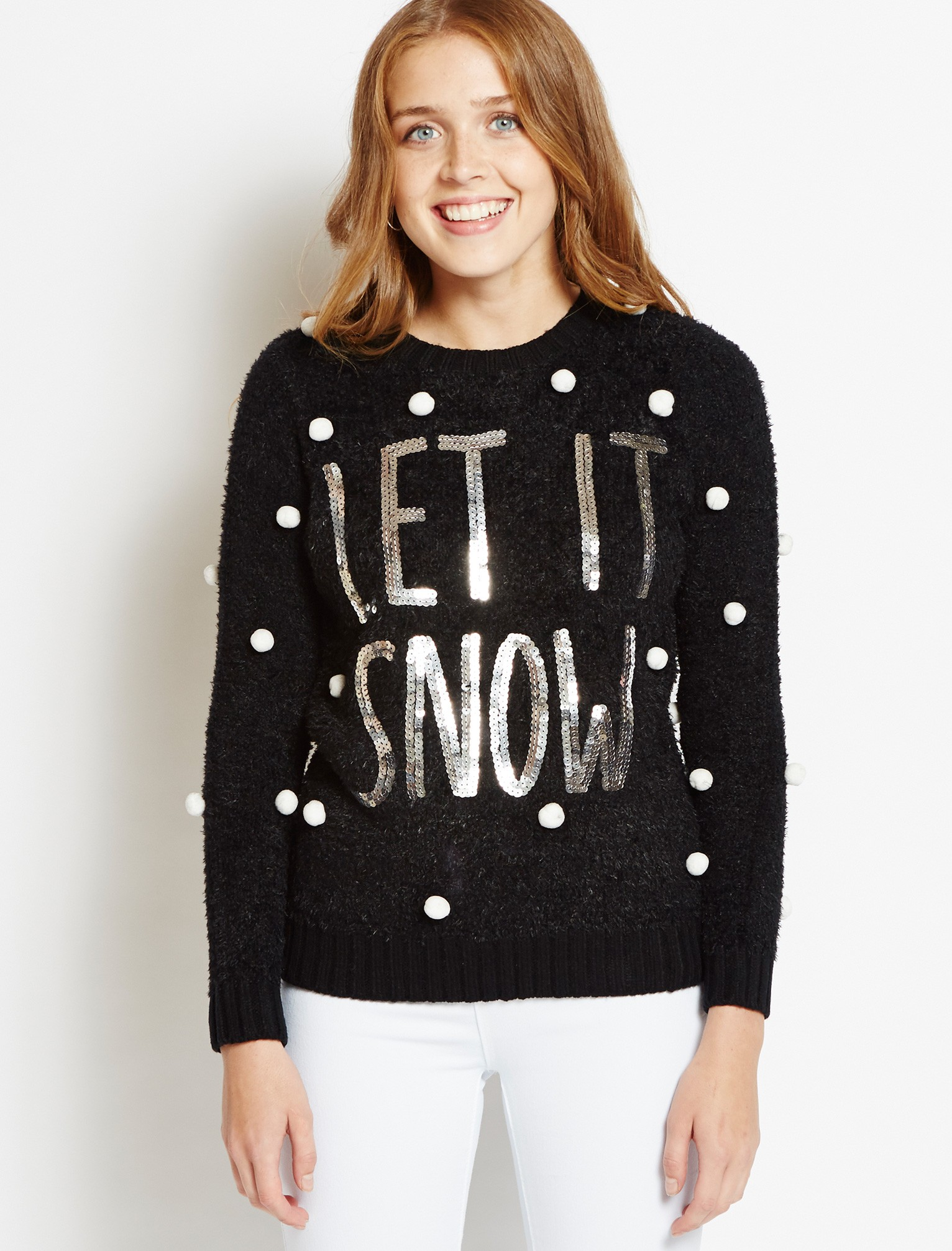 womens christmas jumpers womens merry christmas let it snow black jumper EFSCLSB