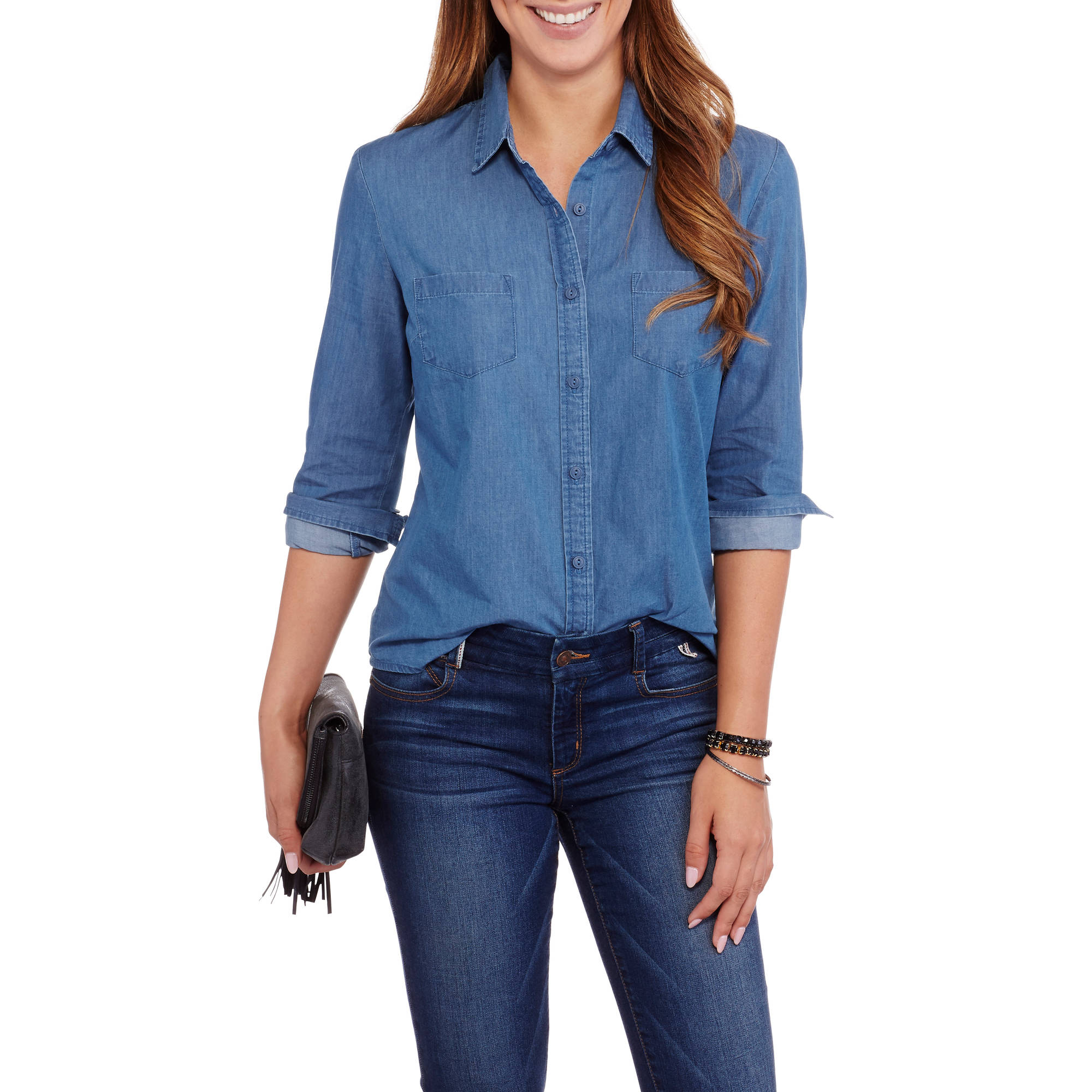 Flaunt your femininity in ruffled women's denim shirts. Glam up a fun party look by pairing of these shirts with a sequined vest and a matching denim skirt. Adding a multi-colored braided belt, stilettos and an oversized shoulder tote will add to that gorgeous look of you want to create.
