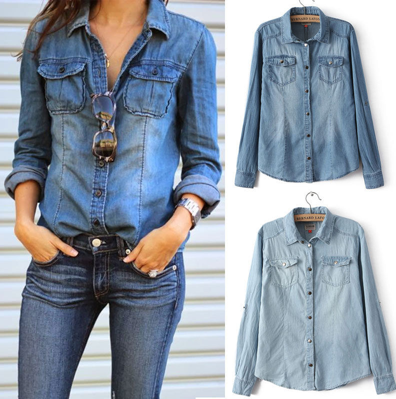 womens denim shirt retro women ladies casual blue jean ...