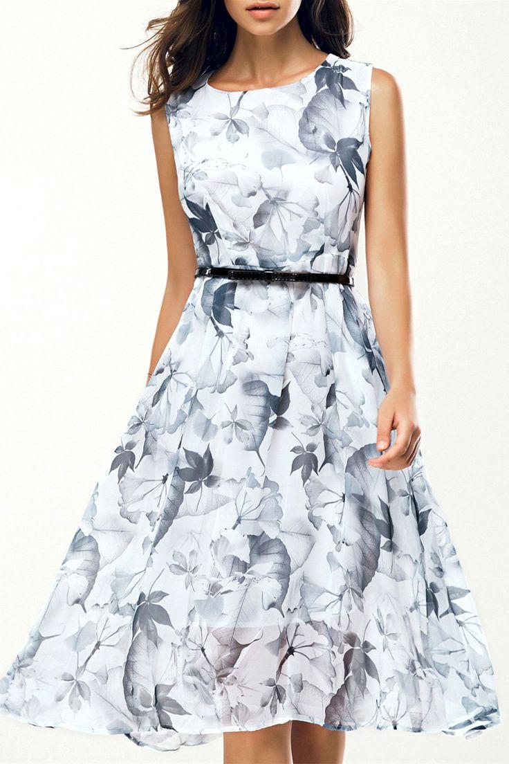 womens dresses $18.45 elegant jewel neck sleeveless floral belted dress for women GEPKCSH