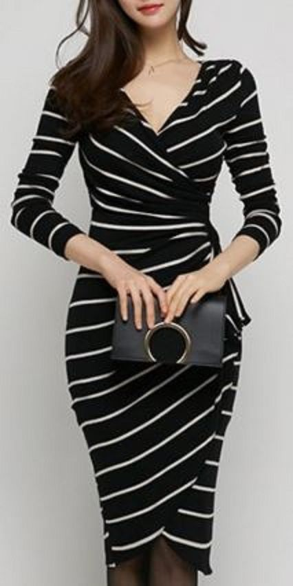 womens dresses sexy v-neck long sleeve slimming striped womenu0027s wrap dress GYOKLIM