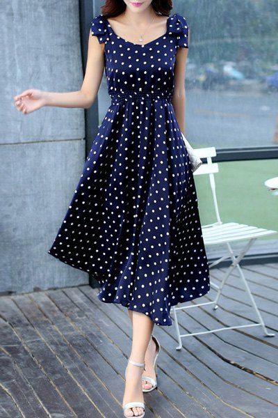 womens dresses sweet sleeveless scoop neck bowknot design polka dot dress for women PHJLQQV