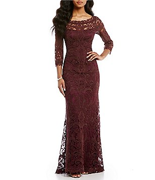 womens dresses tadashi shoji embroidered lace gown NGQWKSP