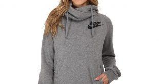 womens hoodies nike rally funnel neck hoodie womenu0027s sweatshirt ($65) ❤ liked on polyvore  featuring tops BINCSKO