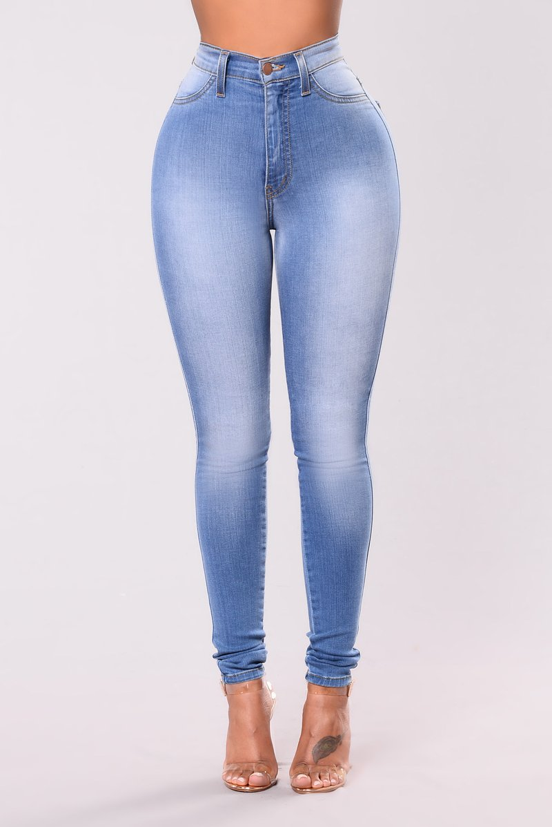 womens jeans classic high waist skinny jeans - light blue SYIPOJV