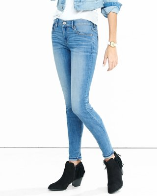womens jeans ... mid rise faded stretch jean leggings VEOCHNU