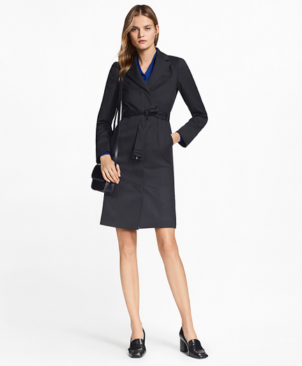womens suit pinstripe stretch-wool jacket dress BJPECOH