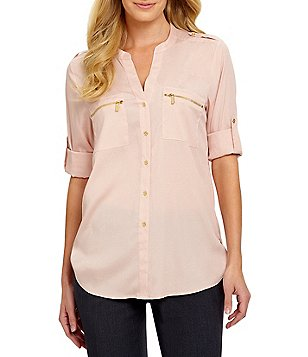 womens tops calvin klein zip-pocket roll tab blouse LUBIEIN