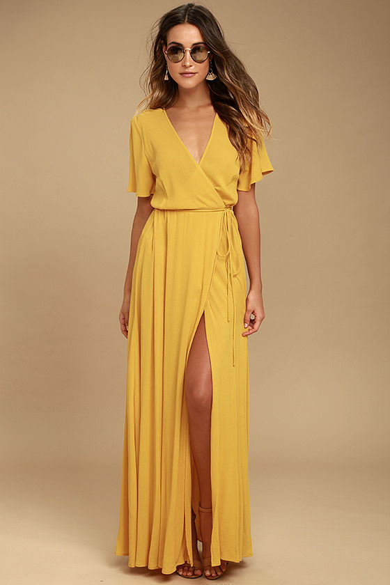 Trending it up with a yellow maxi dress