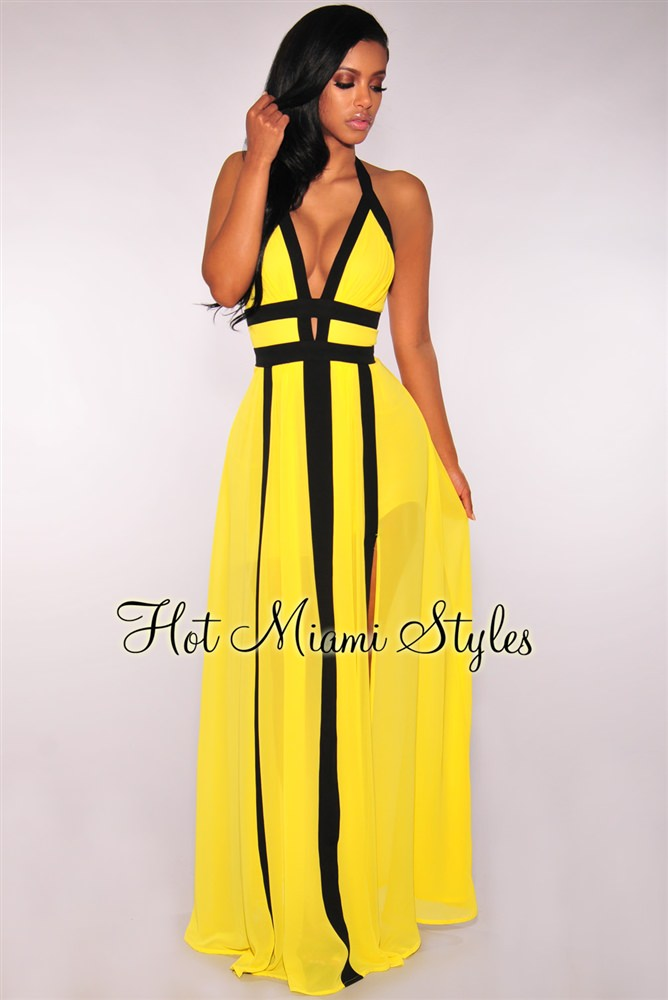 yellow maxi dress yellow halter slit maxi dress IHUJEFH