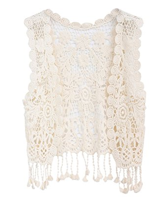 zhuannian little girlu0027s crochet vest with fringe beige AHJPSVY