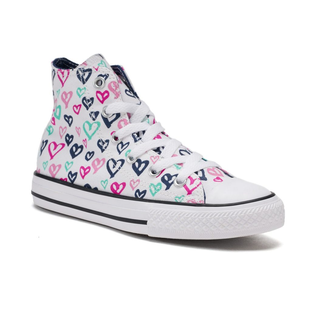 53d4cbd399aa ... low cost girls converse shoes girlsu0027 converse chuck taylor all star  print high top sneakers mdkftjw ...