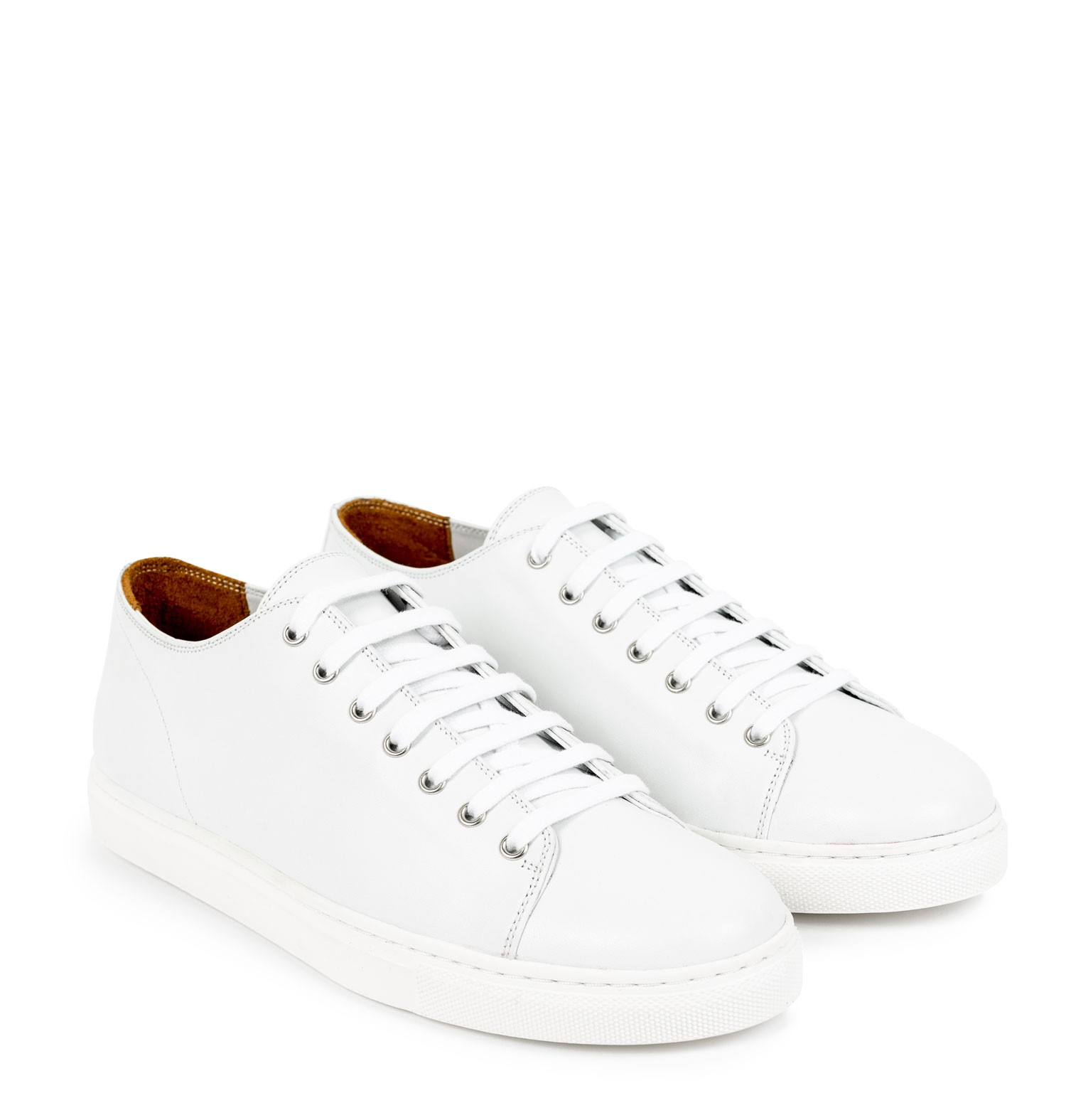 leather tennis shoes in white TCNAFMQ