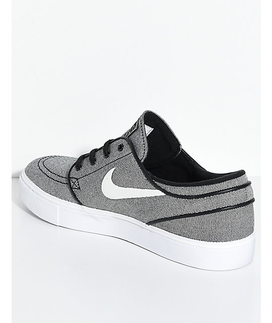 nike skate shoes … nike sb janoski black sail u0026 white canvas skate shoes … CMPAWUZ