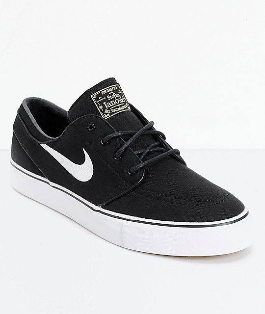 nike skate shoes nike sb zoom stefan janoski black u0026 white canvas skate shoes ... XLYNFNY