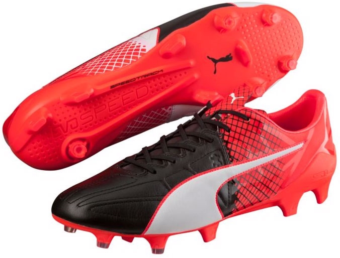 Puma cleats puma evospeed 1.5 leather fg soccer cleats (black/white/red blast) WEUPBNH