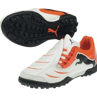 puma powercat 3.10 turf soccer shoes (white/orange/black) PUJDSRK
