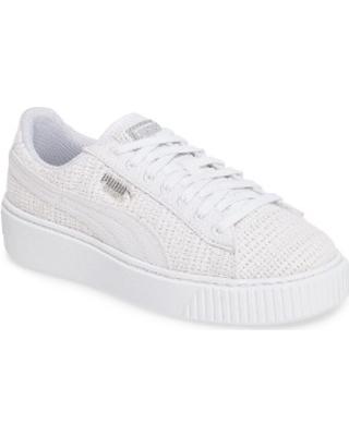 puma sneaker womenu0027s puma basket platform sneaker, size 8.5 m - white KHQBPWC