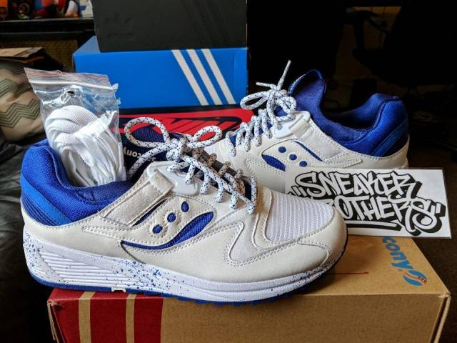 saucony originals grid 8500 white royal blue paint splatter pack sport  s70376-1 SJPXANG