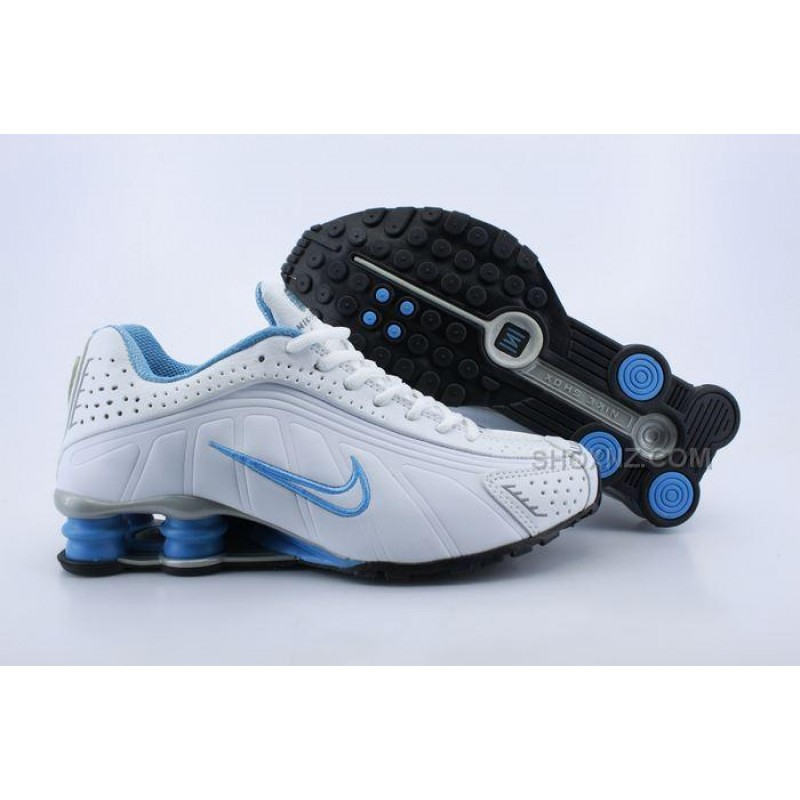 women nike shox r4 white blue 2016 in stock ... NSMRLDG