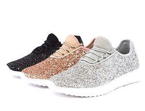 Womens sneakers image is loading women-sequin-glitter-sneakers -tennis-lightweight-comfort-walking- XYGBCPE