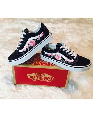 Womens sneakers rose vans, custom vans, rose embroidered vans, womens sneakers, old skool  vans QZNJTST