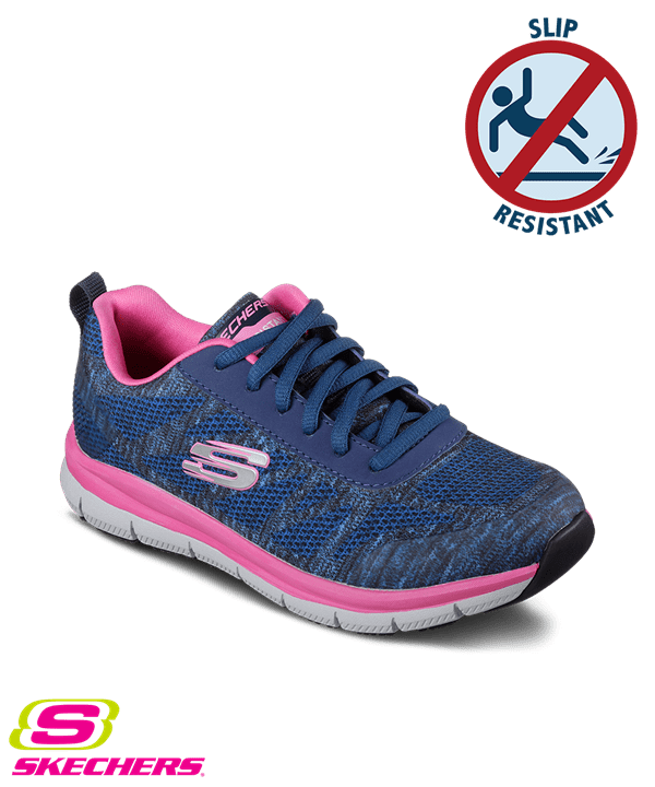 zapatos skechers skechers womenu0027s work comfort flex pro hc navy/pink athletic shoes LJNFJEQ