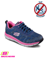zapatos skechers skechers womenu0027s work comfort flex pro hc navy/pink athletic shoes UNCPZJX