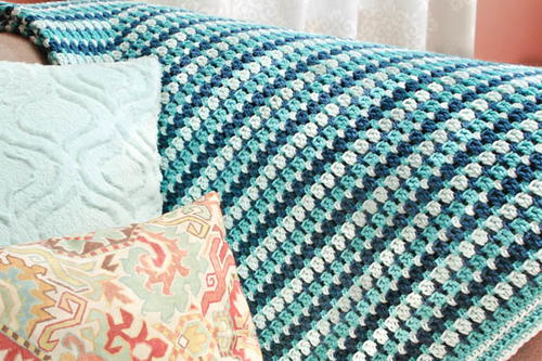 Simple Sea Glass Crochet Afghan | AllFreeCrochetAfghanPatterns.com