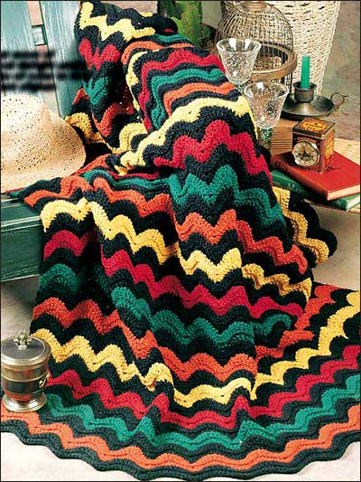 Bright Waves Crochet Afghan Pattern