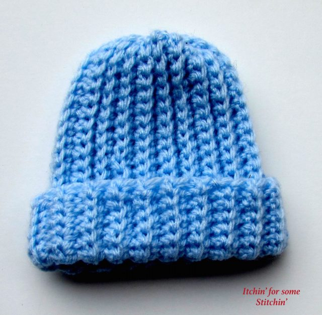 Basic Crochet Ribbed Baby Beanie Pattern - Itchin' for some Stitchin'