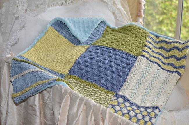 SknitsB 3 Squared Baby Blanket Knitting Pattern