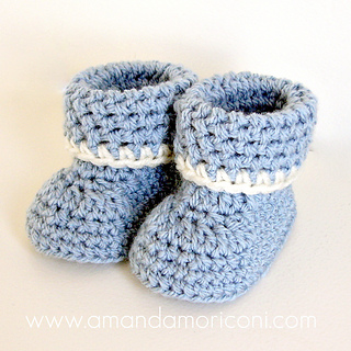 Ravelry: Cozy Cuffs Crochet Baby Booties Pattern pattern by Amanda
