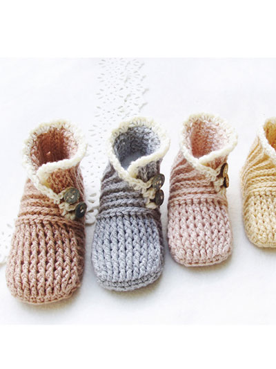 Crochet Baby Booties & Socks - Wrap and Button Baby Booties Crochet