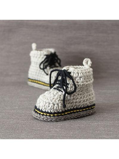 Crochet Baby Booties & Socks - Martens Style Baby Booties Crochet