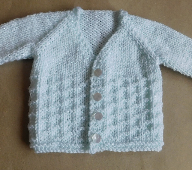 Knitting Patterns Galore - NEVIS Top-down V-neck Baby Cardigan Jacket