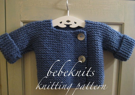 Bebeknits Simple French Style Baby Cardigan Knitting Pattern | Etsy
