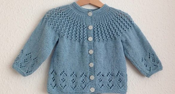 Rosabel Knitted Baby Cardigan [FREE Knitting Pattern]