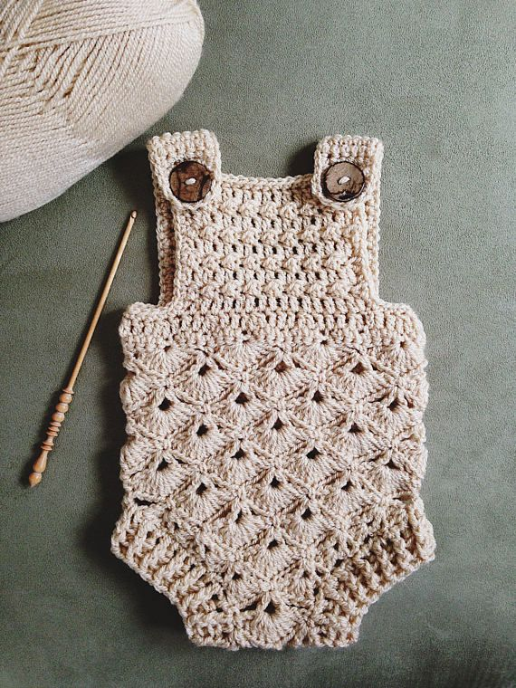 Crochet PATTERN - Baby Romper (sizes 0-3 and 6-12 months) | Baby