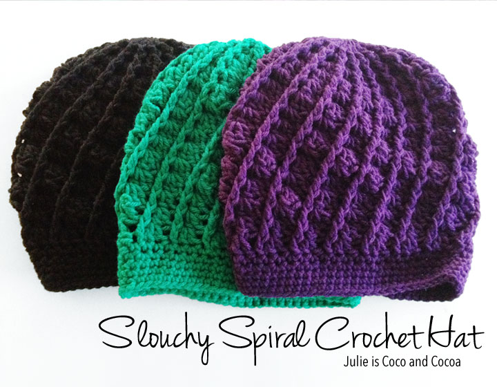 Slouchy Spiral Crochet Hat Pattern - Julie Measures