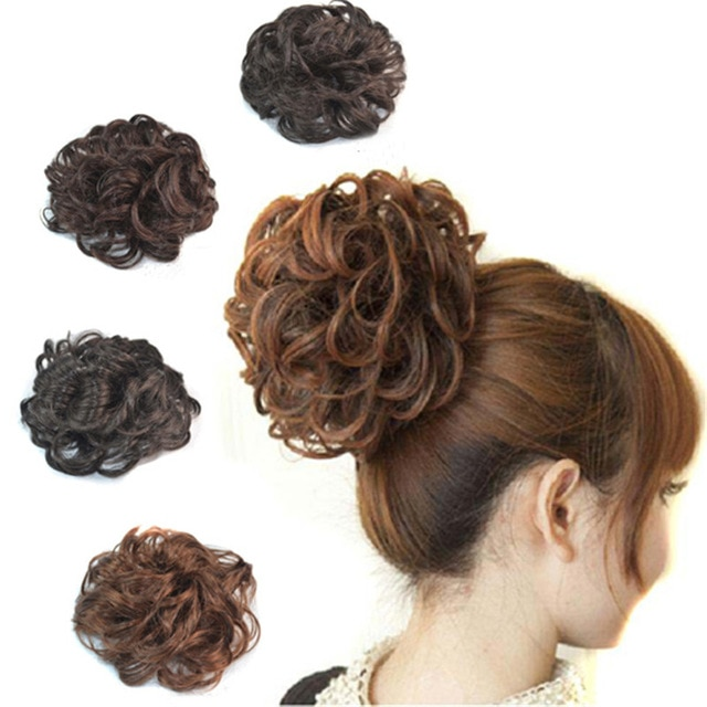 short curly synthetic hair chignon for beautiful women fluffy fake