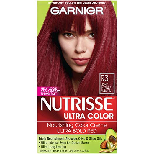 Garnier Nutrisse Ultra Color Nourishing Hair Color Creme, R3 Light Intense  Auburn (Packaging May Vary)