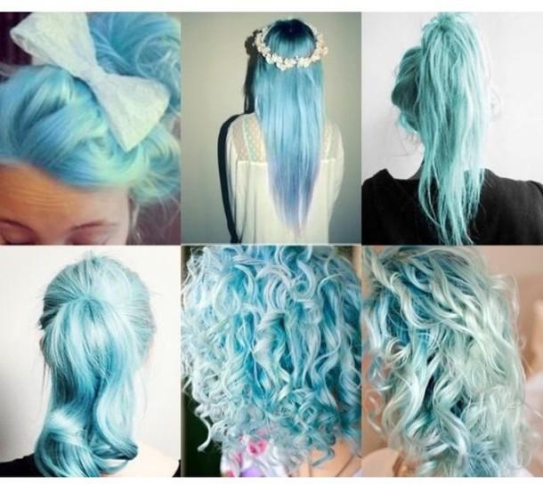 hair accessory, dye, hair dye, blue, mint, dip dyed, hair dye, dip