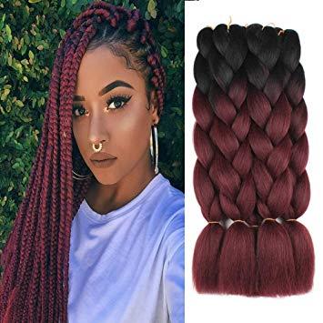 Amazon.com : 5 Pieces 2 Tone Ombre Braiding Hair Crochet Braids
