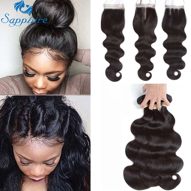 Sapphire Brazilian Hair Weave Bundles With Closure Body Wave Bundles