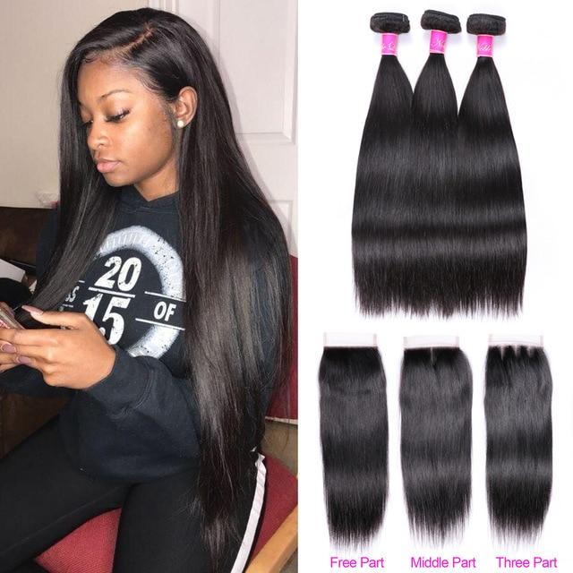 Abijale Straight Hair Bundles With Closure Brazilian Hair Weave