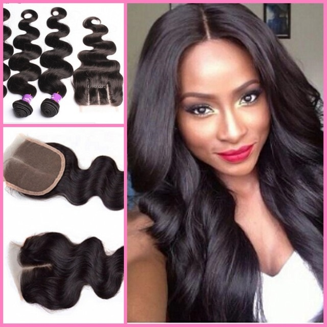 Brazilian Hair Weave 3 Bundles With Lace Closure Hair Weft With