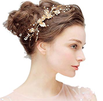 Amazon.com : Bridal Hair Comb Side pin Headpiece Flower Leaf