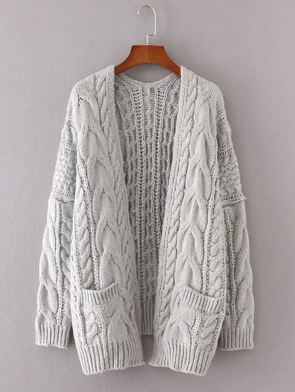 Drop Shoulder Cable Knit Cardigan | SHEIN