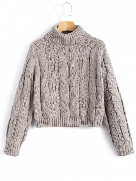 HOT] 2019 ZAFUL Turtleneck Cropped Cable Knit Sweater In GRAY L | ZAFUL